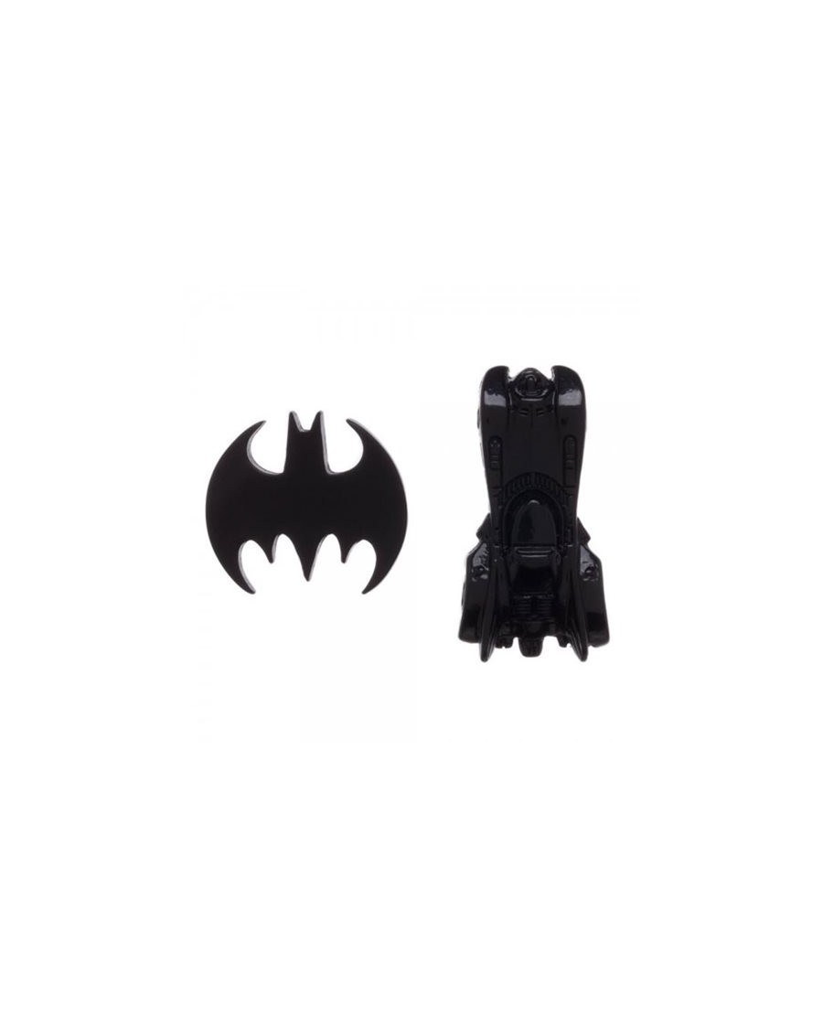 OFFICIAL DC COMICS BATMAN - BAT SYMBOL AND BATMOBILE BLACK PIN BADGES