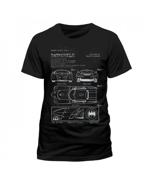 OFFICIAL DC COMICS - BATMAN BATMOBILE WAYNE INDUSTRIES PLAN BLACK T-SHIRT