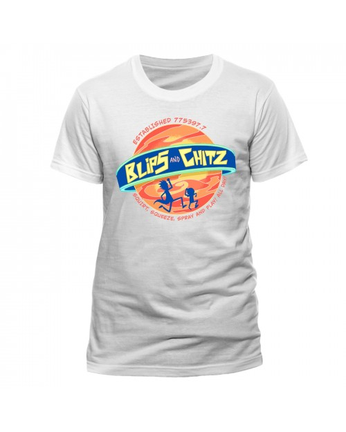 OFFICIAL RICK AND MORTY - BLIPS & CHITZ WHITE T-SHIRT