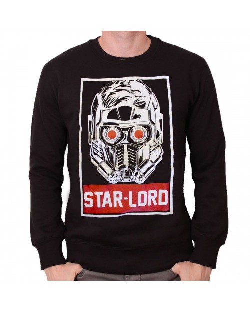 OFFICIAL MARVEL - GUARDIANS OF THE GALAXY - STAR LORD OBEY STYLED BLACK CREWNECK SWEATER JUMPER