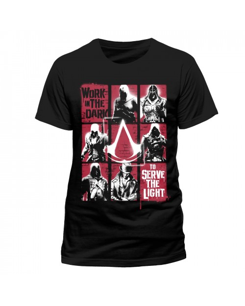 OFFICIAL ASSASSIN'S CREED LEGACY - 'WORK IN THE DARK - TO SERVE THE LIGHT' BLACK T-SHIRT