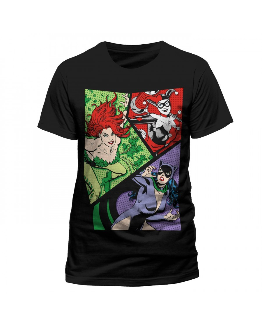 OFFICIAL DC COMICS - VILLANESSESS POP ART - POISON IVY, HARLEY QUINN & CATWOMAN BLACK T-SHIRT