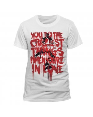OFFICIAL DC COMICS - HARLEY QUINN 'YOU DO THE CRAZIEST THINGS WHEN YOURE IN LOVE' WHITE T-SHIRT