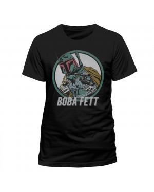 OFFICIAL STAR WARS - BOBA FETT COMIC PRINT BLACK T-SHIRT