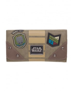 OFFICIAL STAR WARS: ROGUE ONE - REBEL PATCHES GREEN/KHAKI LONG CLUTCH PURSE/ WALLET
