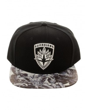 OFFICIAL MARVEL COMICS - GUARDIANS OF THE GALAXY - CREST BLACK SNAPBACK WITH PRINTED VISOR