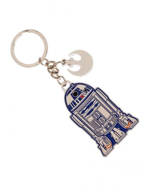 OFFICIAL STAR WARS - R2-D2 AND REBEL SYMBOL CHARM KEYRING
