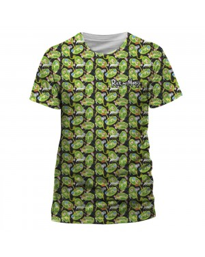 OFFICIAL RICK AND MORTY - PORTAL CHARACTERS ALL OVER TILED SUB PRINT T-SHIRT