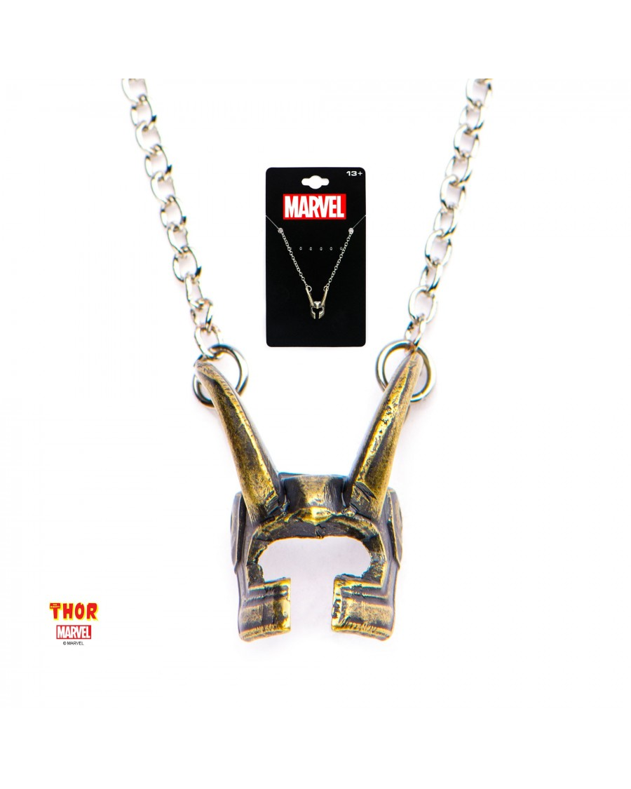 MARVEL COMICS: THOR - LOKI HELMET PENDANT ON CHAIN NECKLACE
