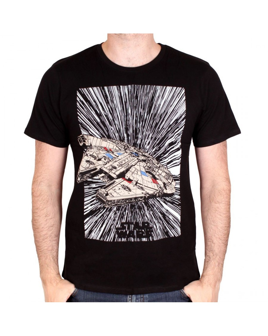 OFFICIAL STAR WARS - MILLENNIUM FALCON HYPERDRIVE BLACK T-SHIRT