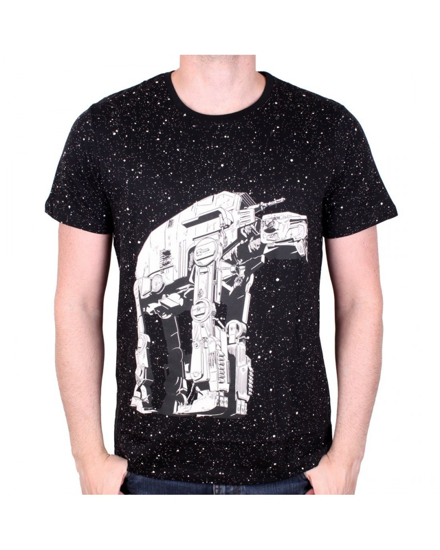 OFFICIAL STAR WARS AT-AT WALKER DRIPPED PAINT 'STARS' BLACK T-SHIRT