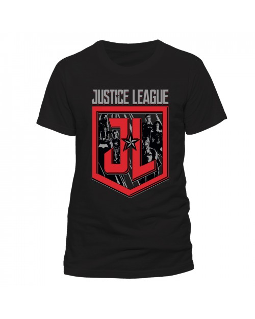 OFFICIAL DC COMICS - JUSTICE LEAGUE SYMBOL/ SHEILD & CHARACTERS BLACK T-SHIRT