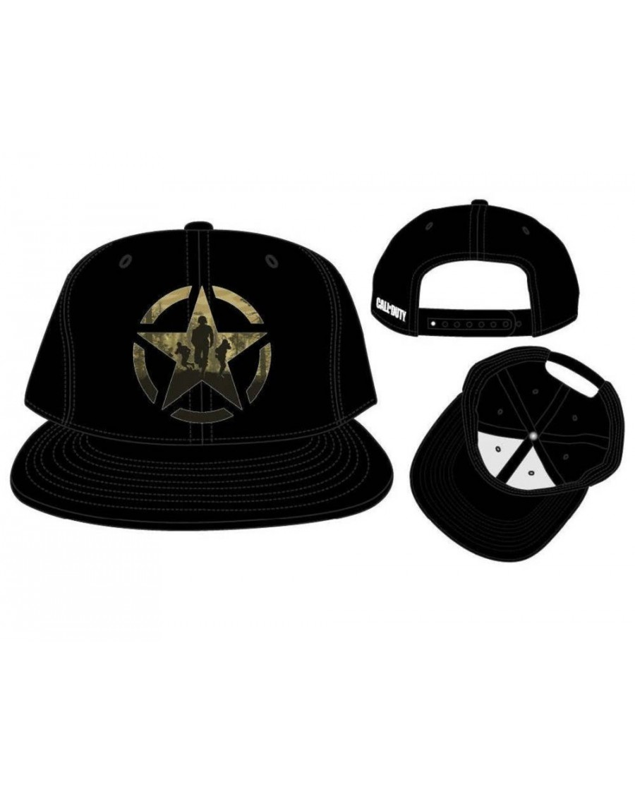 OFFICIAL CALL OF DUTY  WWII (2) ARMY STAR PRINT BLACK SNAPBACK CAP ... 0d372552d5f