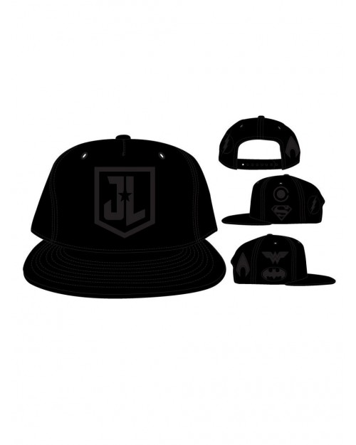 OFFICIAL JUSTICE LEAGUE - BATMAN, SUPERMAN, WONDER WOMAN, THE FLASH, CYBORG & AQUAMAN SYMBOL BLACK PU SNAPBACK CAP