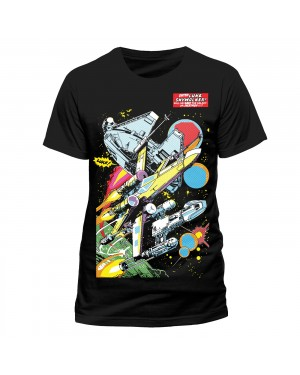 OFFICIAL STAR WARS - MILLENIUM FALCON, X-WING AND TIE FIGHTERS COMIC PRINT BLACK T-SHIRT
