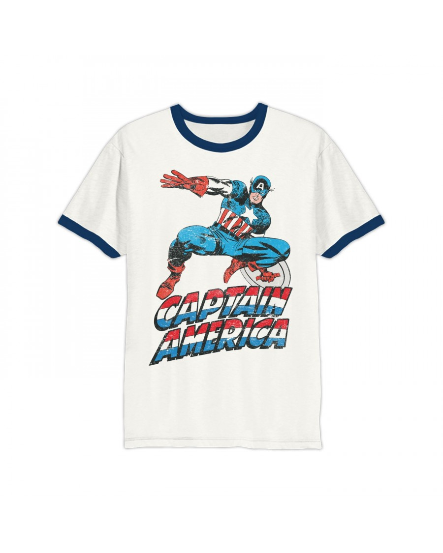 OFFICIAL MARVEL COMICS - CAPTAIN AMERICA DISTRESSED PRINT RINGER T-SHIRT