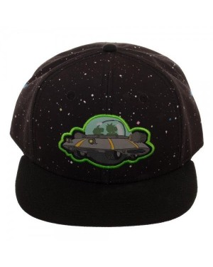 OFFICIAL RICK AND MORTY - SPACESHIP BLACK SNAPBACK CAP