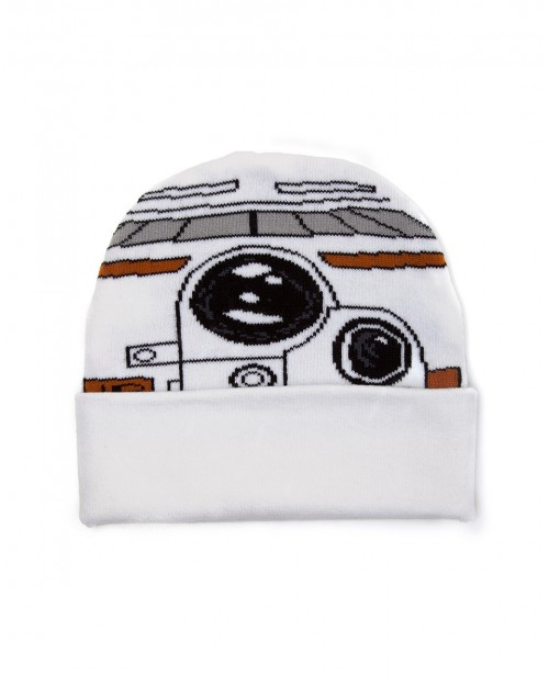 OFFICIAL STAR WARS BB8 COSTUME STYLED WHITE CUFF BEANIE