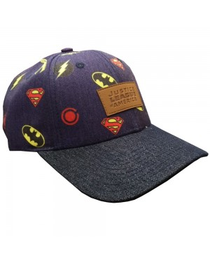 OFFICIAL JUSTICE LEAGUE - ALL OVER SYMBOL NAVY BLUE DENIM STYLED BASEBALL CAP