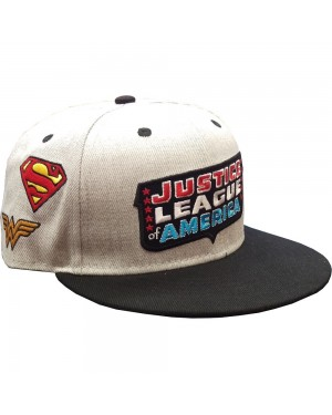 OFFICIAL JUSTICE LEAGUE RETRO LOGO WITH CLASSIC SUPERHERO SYMBOLS ALL OVER GREY SNAPBACK CAP