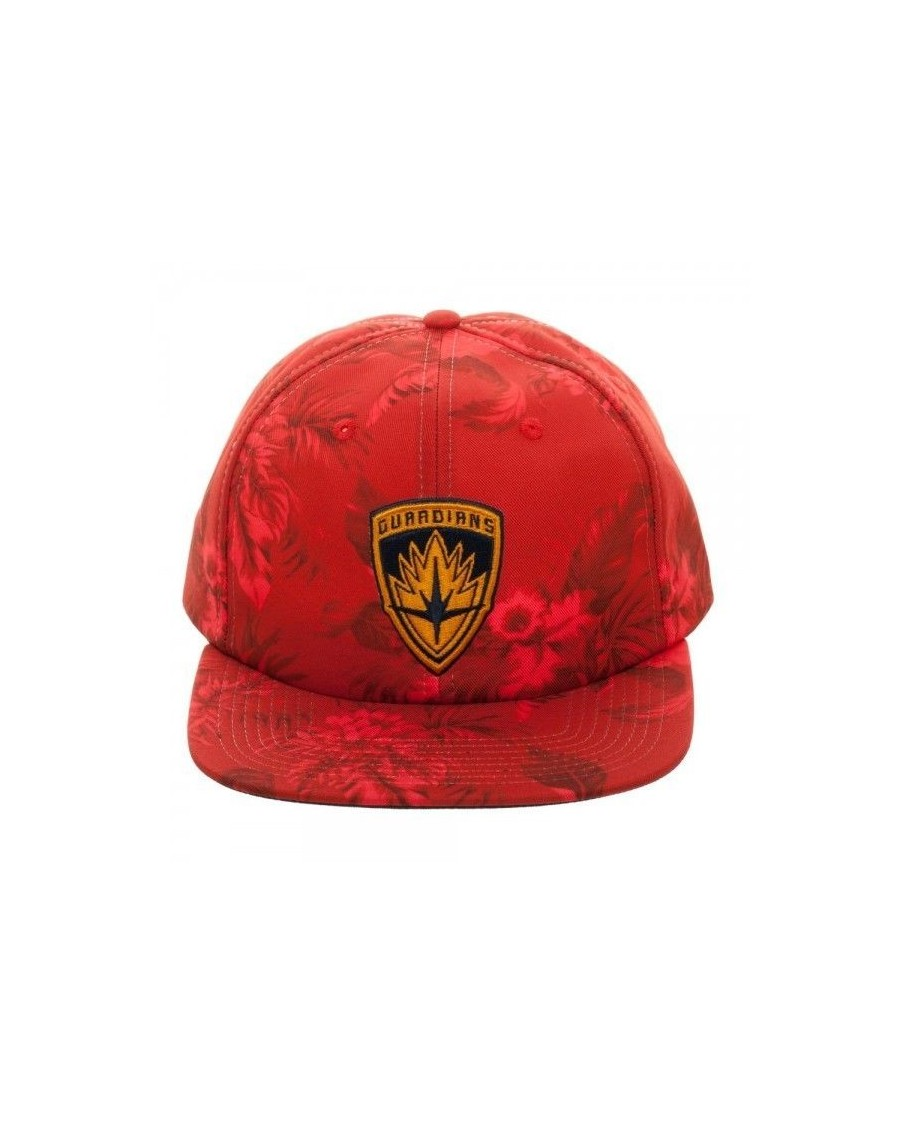 OFFICIAL MARVEL COMICS - GUARDIANS OF THE GALAXY - CREST ALL OVER TROPICAL PRINT RED STRAPBACK CAP