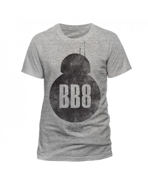 OFFICIAL STAR WARS THE LAST JEDI - BB-8 SILHOUETTE DISTRESSED INK GREY T-SHIRT