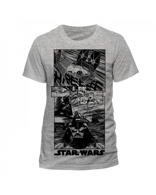 OFFICIAL STAR WARS - A NEW HOPE COMIC PRINT GREY T-SHIRT