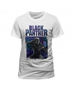 OFFICIAL MARVEL COMICS - BLACK PANTHER (MOVIE) WHITE T-SHIRT