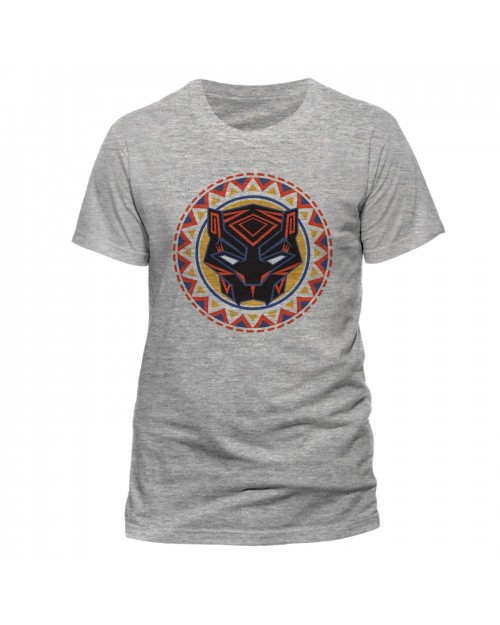 OFFICIAL MARVEL COMICS - BLACK PANTHER (MOVIE) MASK GREY T-SHIRT
