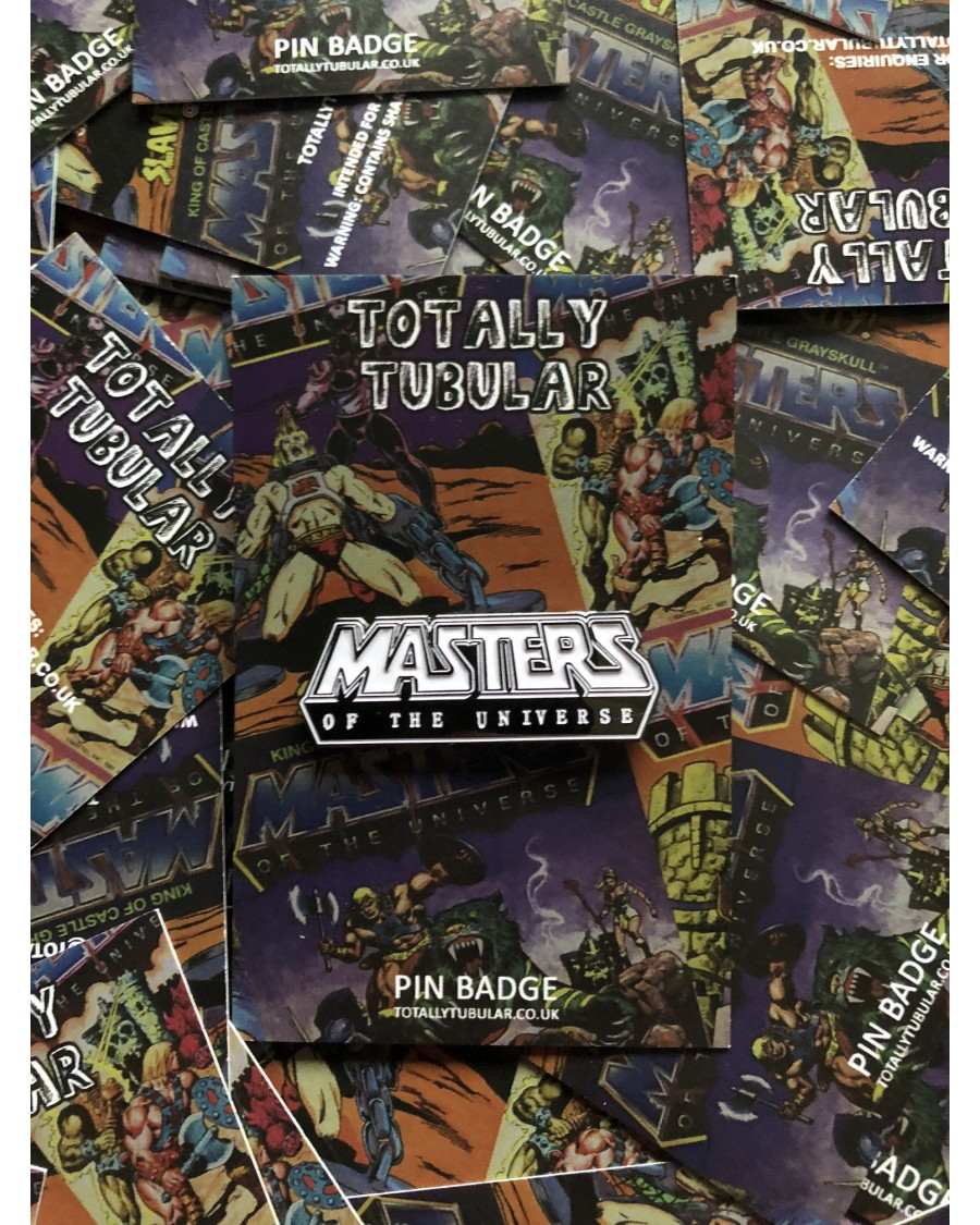 MASTERS OF THE UNIVERSE COMIC LOGO ENAMEL METAL PIN BADGE BY TOTALLY TUBULAR