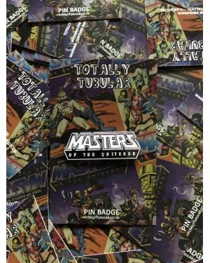 MASTERS OF THE UNIVERSE COMIC LOGO ENAMEL METAL PIN BADGE BY TOTALLY TUBULAR
