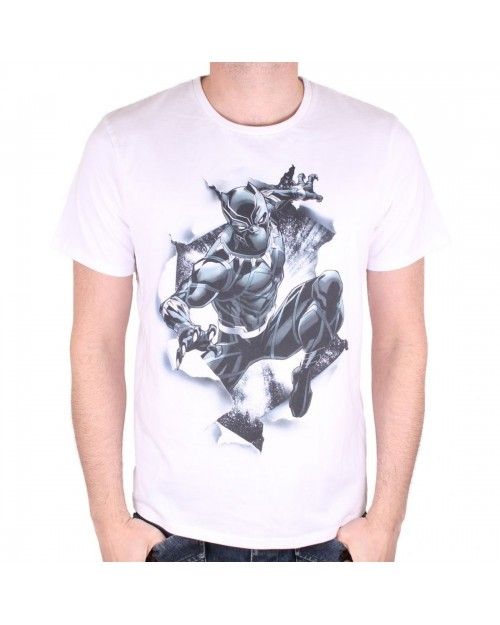 OFFICIAL MARVEL COMICS - BLACK PANTHER BREAKOUT WHITE T-SHIRT