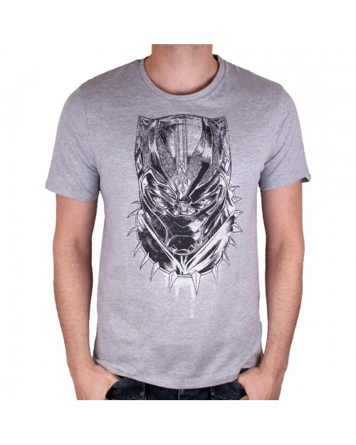 OFFICIAL MARVEL COMICS - BLACK PANTHER MASK DRAWING GREY T-SHIRT