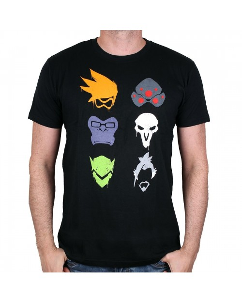 OFFICIAL OVERWATCH - TRACER, WIDOWMAKER, WINSTON, REAPER, GENJI & HANZO BLACK T-SHIRT