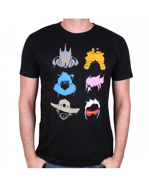 OFFICIAL OVERWATCH - REINHARDT, TORBJORN, MEI, ZARYA, MCCREE & SOLDIER: 76 BLACK T-SHIRT