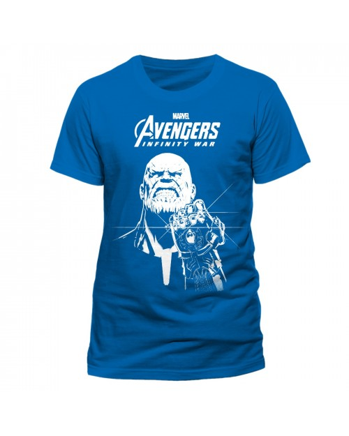 OFFICIAL AVENGERS INFINITY WAR - THANOS INFINITY GAUNTLET BLUE T-SHIRT