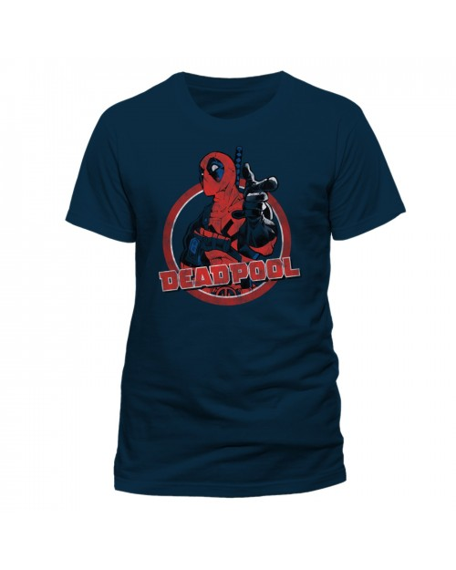 OFFICIAL MARVEL COMICS - DEADPOOL ROUND 'HEY YOU' NAVY BLUE T-SHIRT