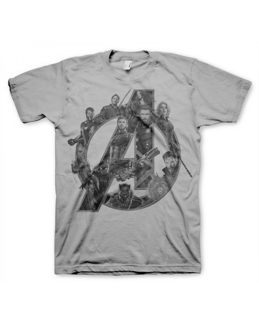 OFFICIAL AVENGERS : INFINITY WAR 'A' SYMBOL COLLAGE GREY T-SHIRT