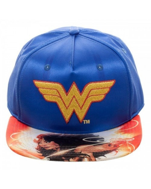 OFFICIAL DC COMICS - WONDER WOMAN SATIN SNAPBACK CAP WITH PRINTED VISOR