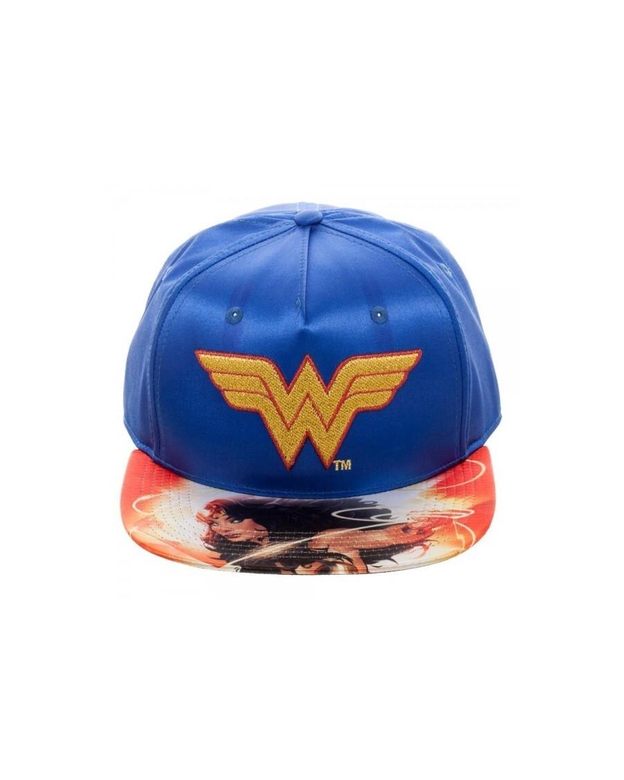 OFFICIAL DC COMICS - WONDER WOMAN SATIN SNAPBACK CAP WITH PRINTED VISOR