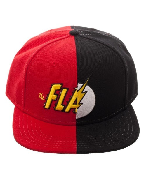 OFFICIAL DC COMICS -  THE FLASH SPLIT SYMBOLS RED AND BLACK SNAPBACK CAP