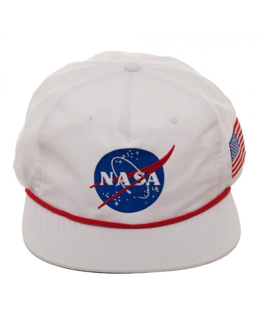 OFFICIAL NASA LOGO - BUZZ ALDRIN ED. WHITE NYLON SLOUCH SNAPBACK CAP