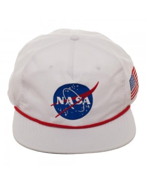 OFFICIAL NASA LOGO - BUZZ ALDRIN ED. WHITE NYLON SLOUCH SNAPBACK CAP