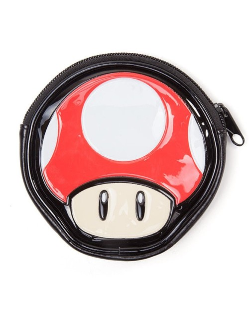 NINTENDO - SUPER MARIO BROS - POWER UP MUSHROOM SHAPE COIN PURSE