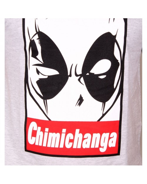 MARVEL - DEADPOOL MASK 'CHIMICHANGA' OBEY STYLED GREY T-SHIRT