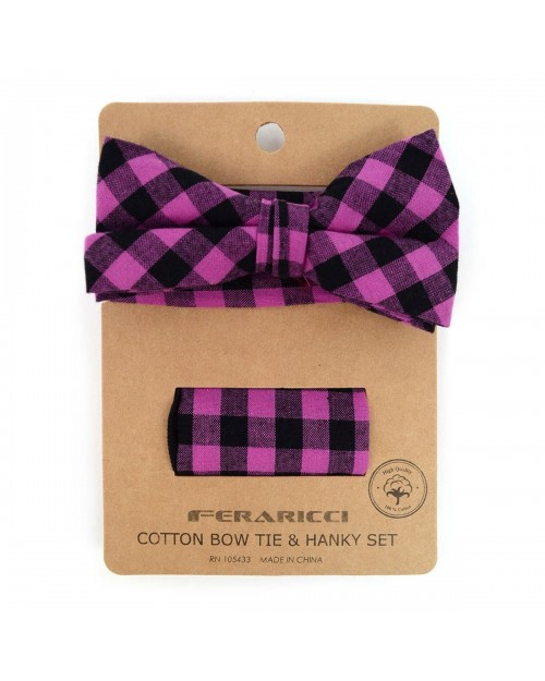PURPLE PLAID COTTON BOW TIE & MATCHING POCKET SQUARE
