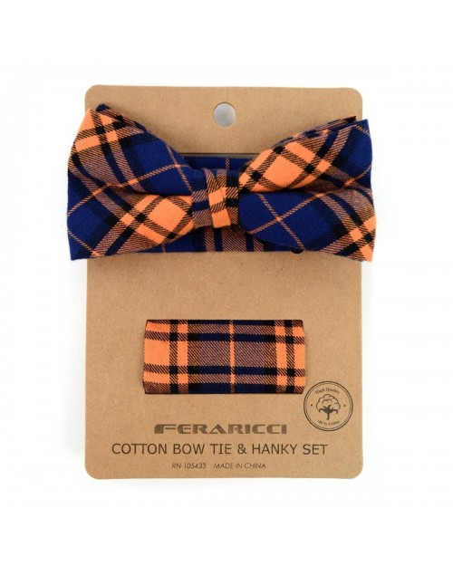 ORANGE PLAID COTTON BOW TIE & MATCHING POCKET SQUARE