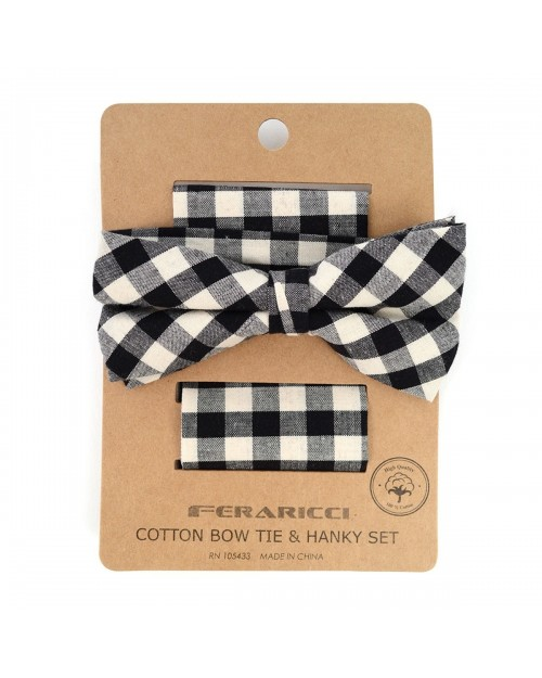 BLACK & WHITE PLAID COTTON BOW TIE & MATCHING POCKET SQUARE