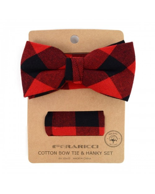 RED PLAID COTTON BOW TIE & MATCHING POCKET SQUARE