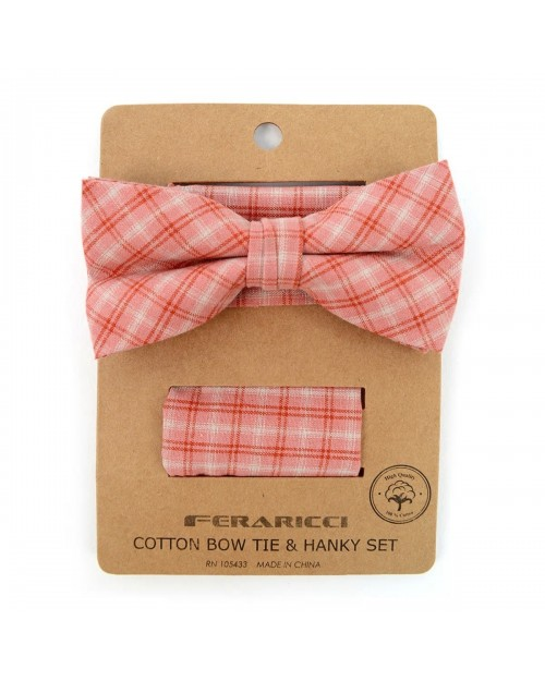 PINK PLAID COTTON BOW TIE & MATCHING POCKET SQUARE
